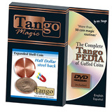 Expanded Shell Coin (Half Dollar w/DVD) (D0007)(Steel Back) by Tango Magic - Trick